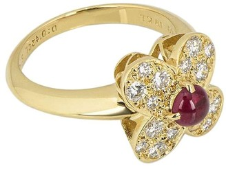 Van Cleef & Arpels pre-owned 18kt yellow gold ruby diamond Alhambra ring