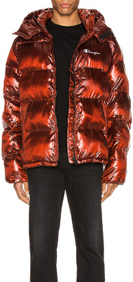 Melange Home Champion Reverse Weave Hooded Puff Jacket in Red Spark | FWRD