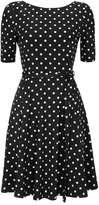 Wallis Petite Black Short Sleeve Polka Dot Fit and Flare Dress