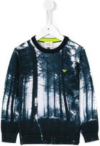 Armani Junior forest print sweatshirt