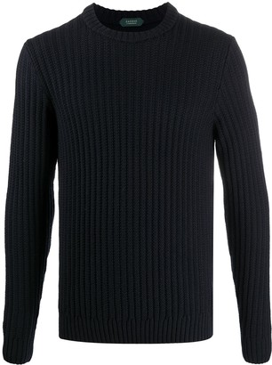 Zanone Ribbed Knit Wool Jumper