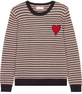 Chinti and Parker Jacquard Heart Cashmere Sweater - Navy