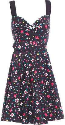 Marc Jacobs Belted Floral-print Stretch-cotton Poplin Mini Dress