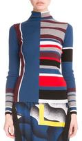Kenzo Colorblock Striped Wool Top, Burgundy/Multicolor