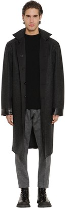 Jil Sander Reversible Wool Raincoat W/Leather Patch