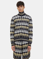 Gucci Men's Lurex Jacquard Zip-up Jacket In Navy, Gold And Silver