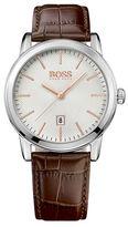 HUGO BOSS Leather Strap & Silver Sundial Watch
