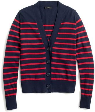 J.Crew Striped V-neck cotton cardigan sweater