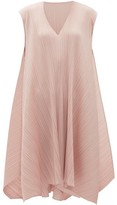 Pleats Please Issey Miyake V-neck Technical-pleated Midi Dress - Womens - Light Pink