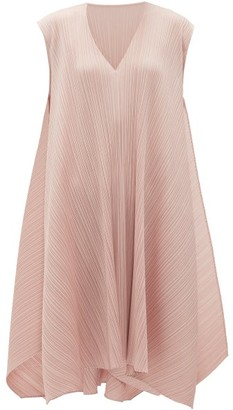 Pleats Please Issey Miyake V-neck Technical-pleated Midi Dress - Light Pink