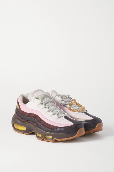 Nike Air Max 95 Chain-embellished Leather, Suede And Mesh Sneakers - Pink