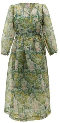 Shrimps Titania Floral-print Organza Wrap Dress - Green Print