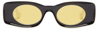 Loewe Paula's Ibiza - Rectangle Acetate Sunglasses - Womens - Black