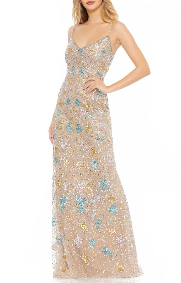 Thumbnail for your product : Mac Duggal Bead & Sequin Embellished Column Gown