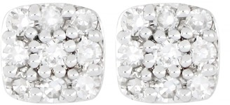 Carriere Sterling Silver Pave Diamond Square Stud Earrings - 0.10 ctw