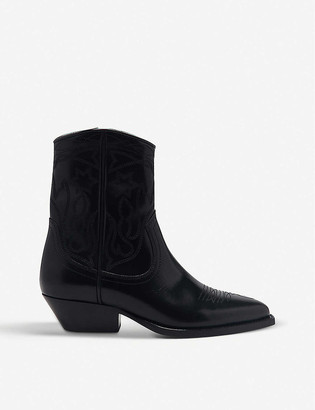 Sandro Jim embroidered leather cowboy boots