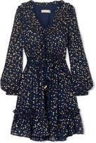 MICHAEL Michael Kors Ruffled Metallic Printed Chiffon Mini Dress - Navy