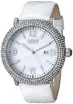 Burgi Women's BUR074WT Crystal Encrusted Silver-Tone Watch with White Snakeskin Leather Band