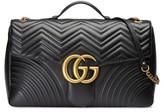 Gucci Gg Marmont Maxi Matelasse Top Handle Shoulder Bag - Black