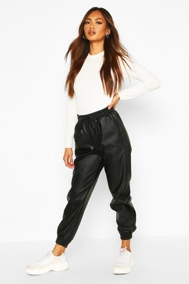boohoo Black Leather Look Relaxed Fit Jogger