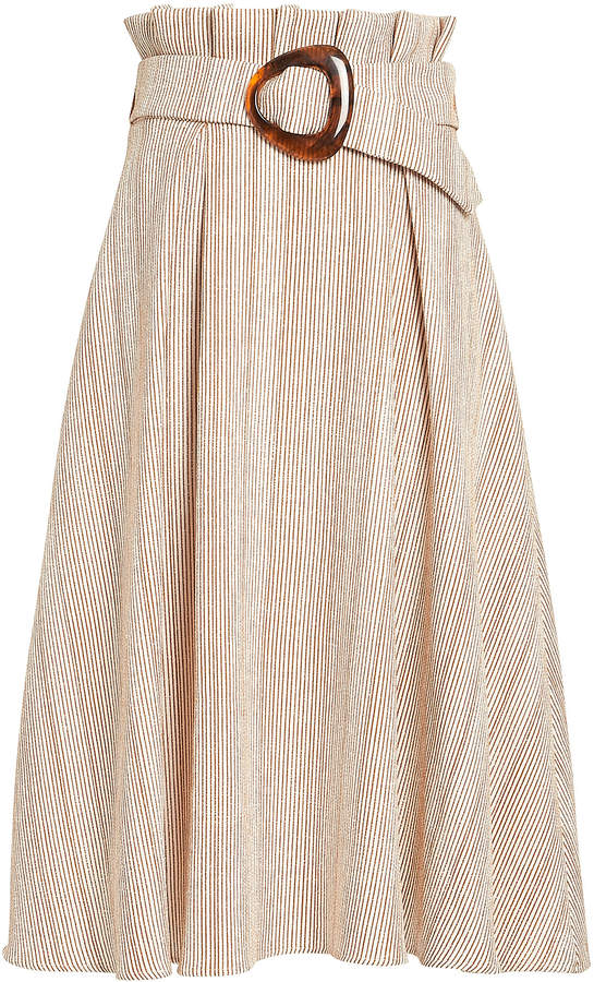 Stripe Belted Midi Skirt