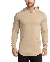 EU-Texus EU Men's Gym Hoodie Running Fleece Sweatshirt Workout Pullover Hoody Zip Pockets Large