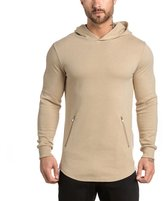 EU-Texus EU Men's Gym Hoodie Running Fleece Sweatshirt Workout Pullover Hoody Zip Pockets Medium