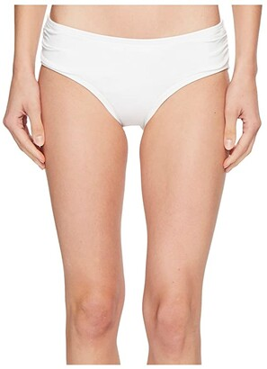 MICHAEL Michael Kors Shirred Bikini Bottoms (White) Women's Swimwear