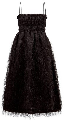 Ganni Feather-trimmed Shirred Baroque-brocade Midi Dress - Black