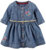 Carter's Embroidered-Floral Belted Denim Shirtdress, Baby Girls (0-24 months)