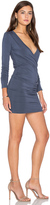 Bobi Jersey Long Sleeve Cross Front Mini Dress