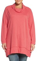 Caslon Cowl Neck French Terry Tunic (Plus Size)
