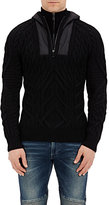 Ralph Lauren Black Label MEN'S HOODED CABLE-KNIT SWEATER-BLACK SIZE M
