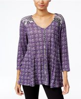 Style&Co. Style & Co Petite Printed Peasant Blouse, Only at Macy's
