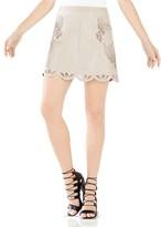 BCBGMAXAZRIA Jennifer Embroidered Faux Leather Skirt
