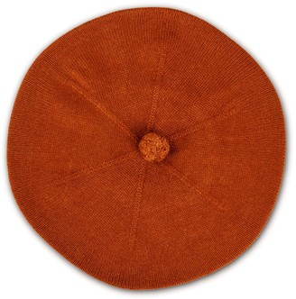 Asneh Fallon Brown Pom-Pom Knitted Silk Cashmere Beret