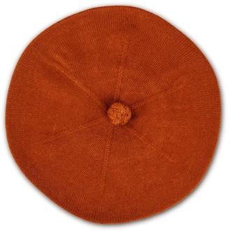 Fallon Brown Pom-Pom Knitted Silk Cashmere Beret