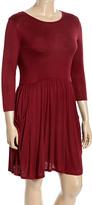 Celeste Burgundy Pocket Skater Dress - Plus