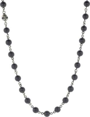John Varvatos Onyx and Silver Skull Bead Necklace