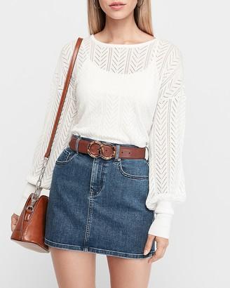 Express Mid Rise Straight Denim Mini Skirt