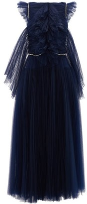 KHAITE Paige Crystal-embellished Tulle Midi Dress - Navy