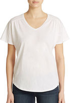 Lord & Taylor Plus Shirred V Neck Tee