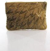 La Regale Gold Metallic Beaded Zippered Top Clutch Handbag