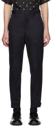 Neil Barrett Navy Travel Buckle Cuff Gabardine Trousers