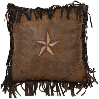 Loon Peak Artiaga Star Faux Leather Throw Pillow Loon Peak