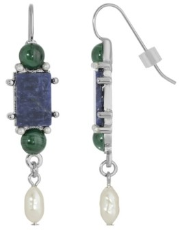 2028 Silver-Tone Semi Precious Lapis Rectangle Imitation Pearl Drop Earrings
