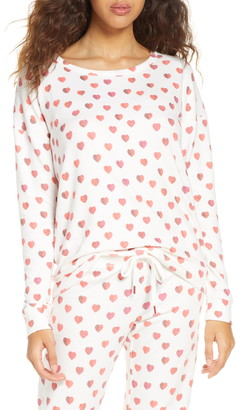 PJ Salvage Heart Print Pajama Top