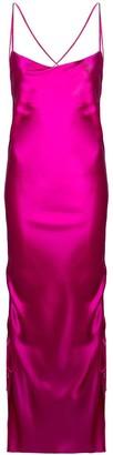 Galvan Yasmin Midi Slip Dress Fuchsia