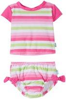 I Play 2 Piece Rashguard Swimsuit Set (Baby/Toddler) - Pink Stripe - 18-24 Months