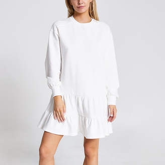 River Island Petite cream smock sweatshirt dress
